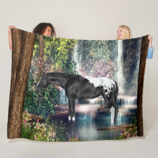 Black Appaloosa Horse Waterfall Background Fleece Blanket