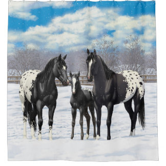 Black Appaloosa Horses In Snow Shower Curtain