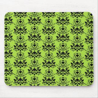 Black Apple Green Damask Print Mousepads