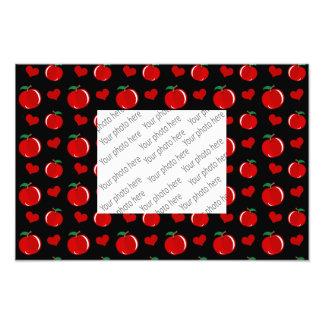 Black apple hearts pattern photo art