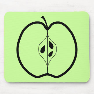 Black Apple Line Illustration. Mouse Pad