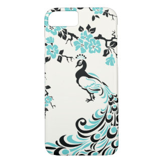 Black, aqua blue peacock & cherry blossoms iPhone 7 case