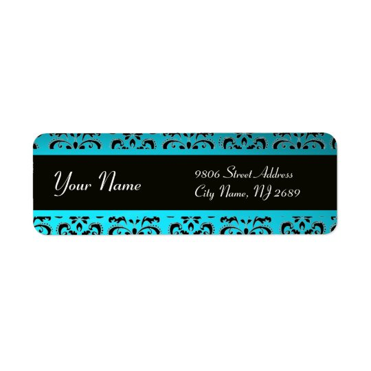 BLACK AQUA BLUE TEAL DAMASK