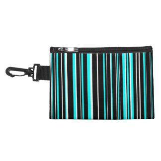 Black, Aqua Blue, White Barcode Stripe Accessory Bag