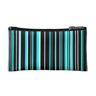 Black, Aqua Blue, White Barcode Stripe Makeup Bag