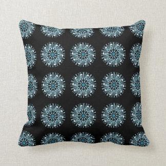 Black Aqua Blue White Pattern Throw Pillow