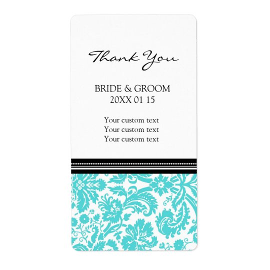 Black Aqua Damask Pattern Wedding Labels