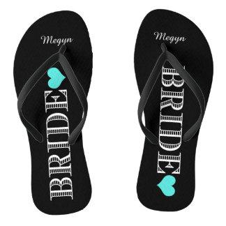 Black/Aqua Heart Bride's Flip Flops