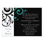 Black Aqua Swirl Wedding Traditional Custom Invitations