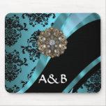 Black & aquamarine damask mousepads
