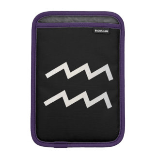 Black Aquarius 2 Zodiac January 20 - February 18 Sleeve For iPad Mini