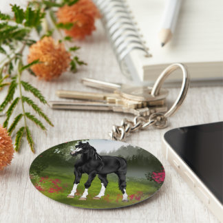 Black Arabian Horse in Spring Meadow Basic Round Button Key Ring