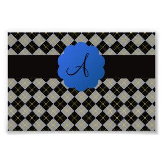 Black argyle blue scallop monogram photograph