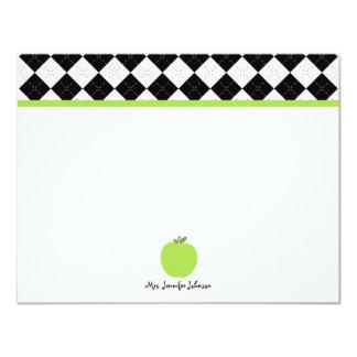 Black Argyle Green Apple Personalized Teacher 11 Cm X 14 Cm Invitation Card