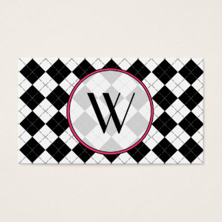 Black Argyle Monogram Fashion Business Card