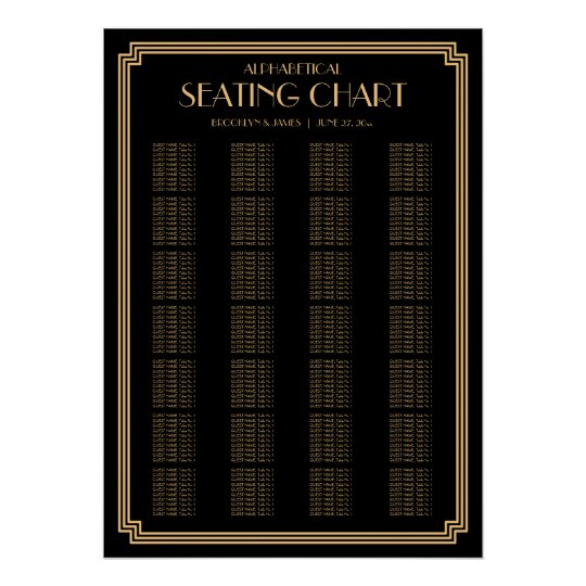 Black Art Deco Alphabetical Wedding Seating Chart