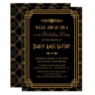 Black Art Deco Birthday Party Invites