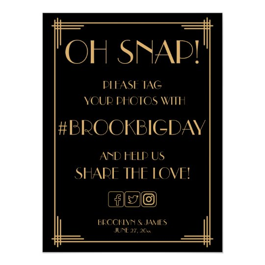 Black Art Deco Gold Gatsby Hashtag Sign 18x24