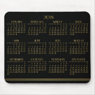 Black Art Deco Gold Yearly Calendar 2018 Mousepad