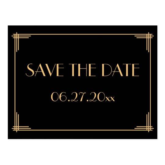black art deco great gatsby save the date postcard. Black Bedroom Furniture Sets. Home Design Ideas