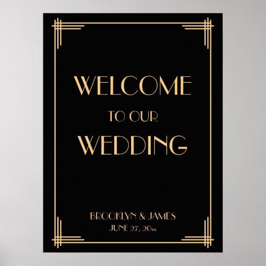 Black Art Deco Great Gatsby Wedding Reception Sign