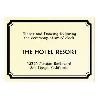 Black art deco retro wedding reception enclosure pack of chubby business cards