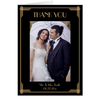 Black Art Deco Thank You Wedding Greeting Cards