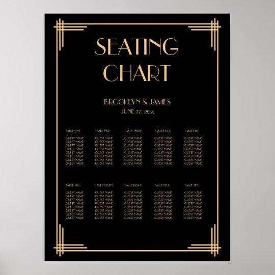 Black Art Deco Wedding Seating Chart Poster 18x24