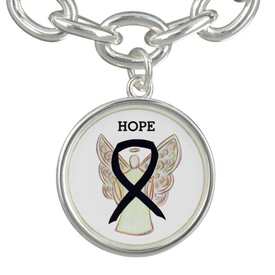 Black Awareness Ribbon Angel Charm Bracelet