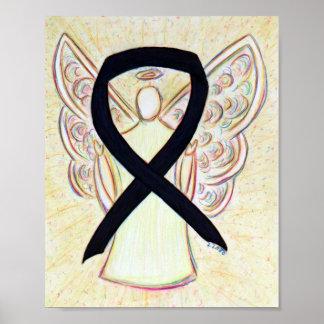 Black Awareness Ribbon Angel Poster Art Print
