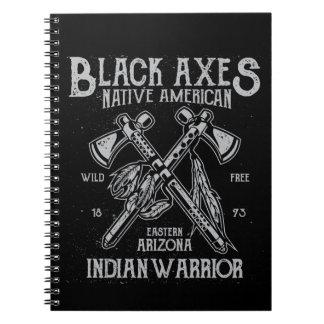 Black Axes Native America Indian Warrior Arizona Notebook