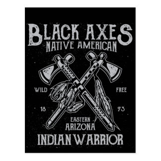 Black Axes Native America Indian Warrior Arizona Postcard
