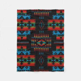 BLACK Aztec Print Fleece Blanket