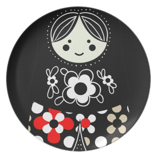 Black Babushka Matryoshka Russian Doll Plate