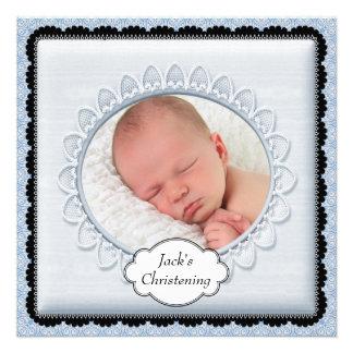 Black Baby Blue Boys Photo Christening Invitations