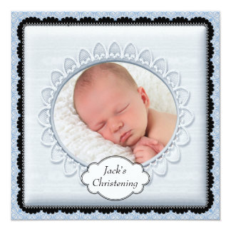 Black Baby Blue Boys Photo Christening Invitations