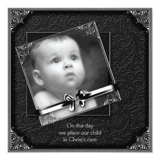 Black Baby Boy Photo Christening 13 Cm X 13 Cm Square Invitation Card