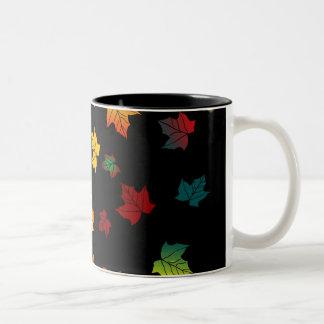 black back autumn leaves design Two-Tone mug