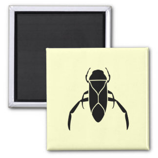 Black Back Swimmer Insect Graphic Print Square Magnet
