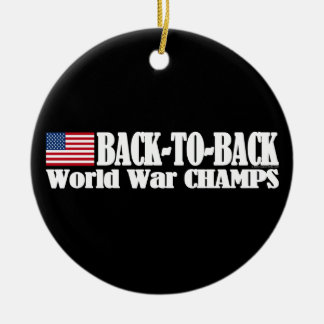 Black Back-To-Back USA Champs Round Ceramic Decoration