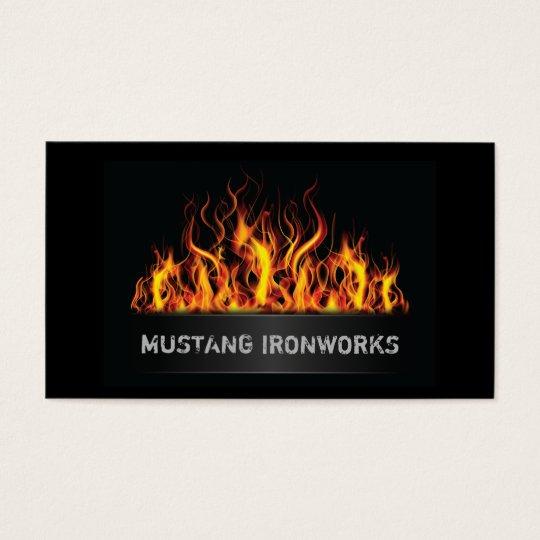 Black Background Orange Flames Fire Business Card