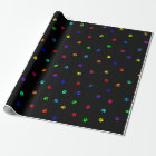 Black Background Rainbow Pawprint Wrapping Paper