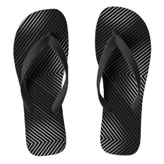 Black Background, White Lines Flip Flops