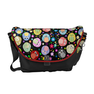 Black bag with cute owls and flowers commuter bag