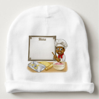 Black Baker or Pastry Chef Menu Sign Baby Beanie