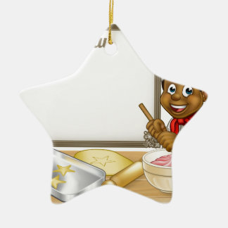 Black Baker or Pastry Chef Menu Sign Ceramic Star Decoration
