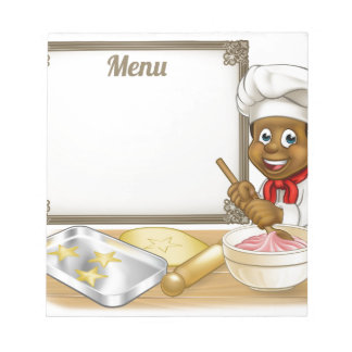 Black Baker or Pastry Chef Menu Sign Notepads