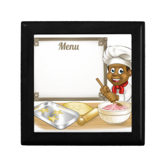 Black Baker or Pastry Chef Menu Sign Small Square Gift Box