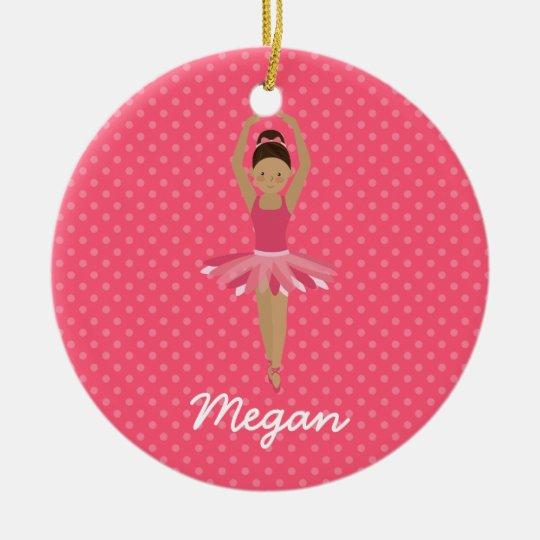 Black Ballerina on Pink Polka Dots Christmas Ornament