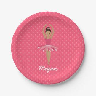 Black Ballerina on Pink Polka Dots Paper Plate
